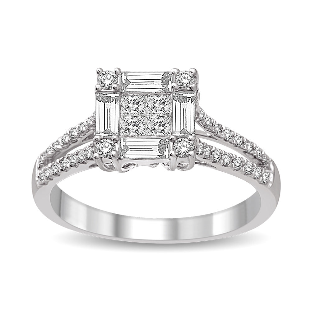 14K White Gold 9/10 Ct.Tw Diamond Engagement Ring