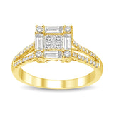 14K Yellow Gold 9/10 Ct.Tw Diamond Engagement Ring