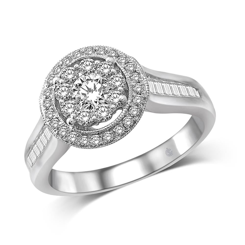 14K White Gold 1 Ct.Tw Diamond Engagement Ring