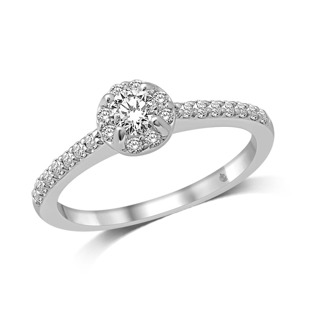 14K White Gold 1/4 Ct.Tw.Diamond Semi Mount Engagement Ring