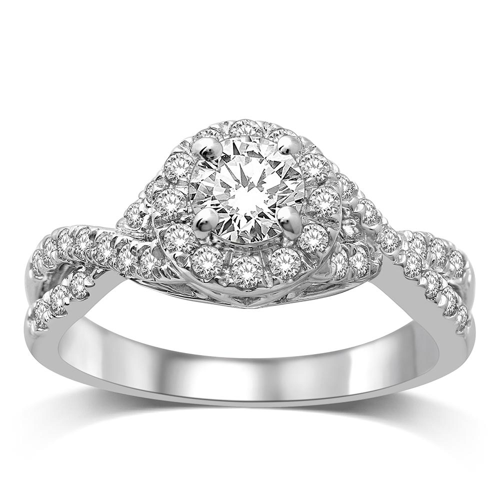 14K White Gold 1/2 Ct.Tw.Diamond Semi Mount Engagement Ring