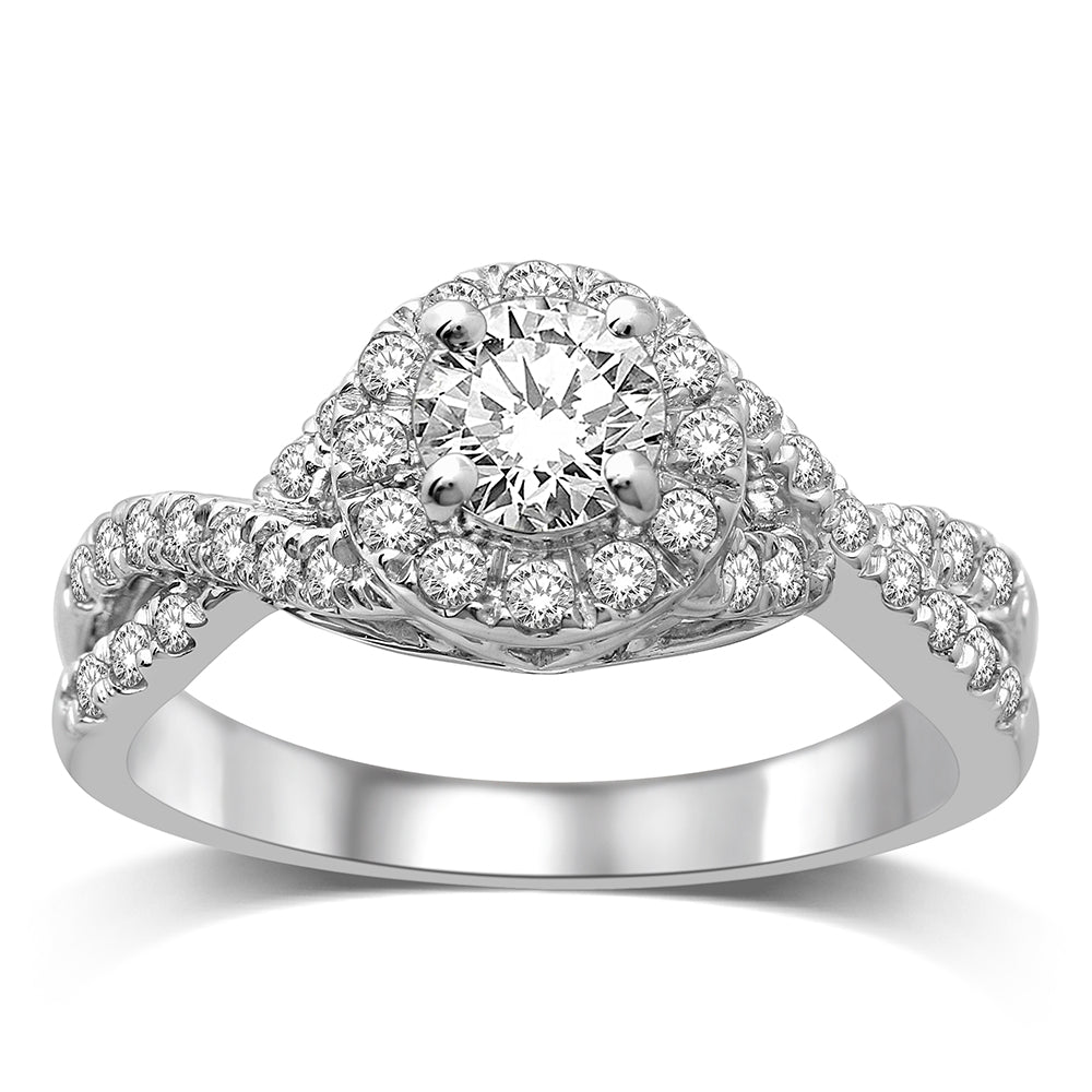 14K White Gold 1 Ct.Tw.Diamond Halo Engagement Ring