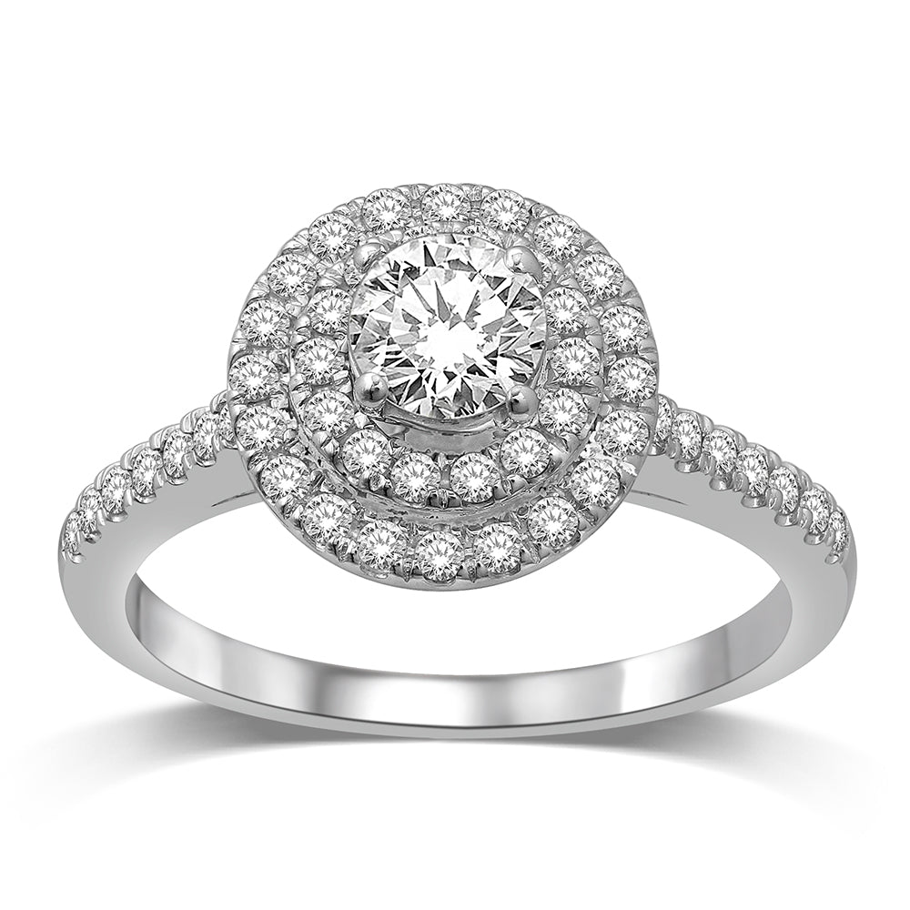 14K White Gold 1 1/2 Ct.Tw.Diamond Halo Engagement Ring