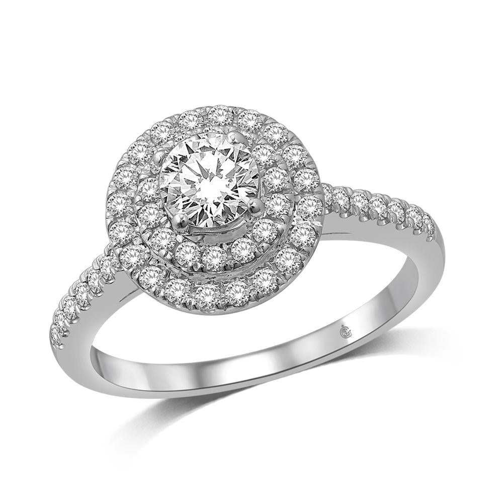 14K White Gold 2 Ct.Tw.Diamond Halo Engagement Ring