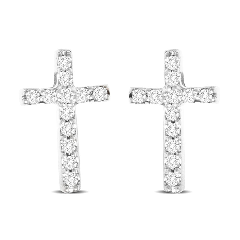 10K White Gold Diamond Accent Cross Earrings
