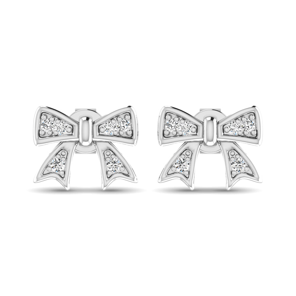 10K White Gold Diamond Accent Bow Earrings