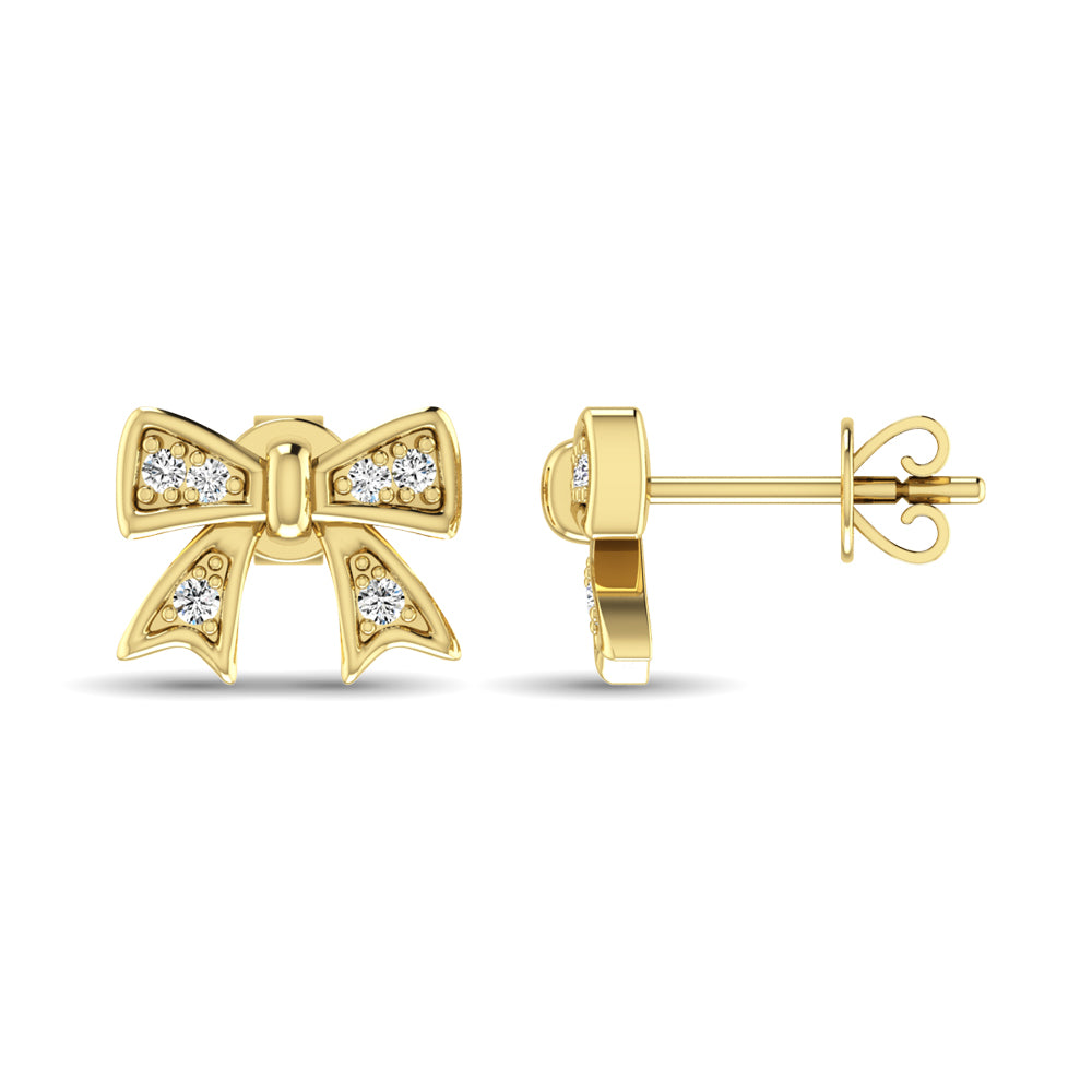 10K Yellow Gold Diamond Accent Bow Earrings