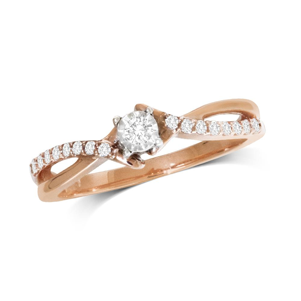 10K Rose Gold 1/6 Ct.Tw.Diamond Promise Ring