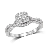 Lovecuts 14K White Gold 5/8 Ct.Tw.Diamond Engagement Ring