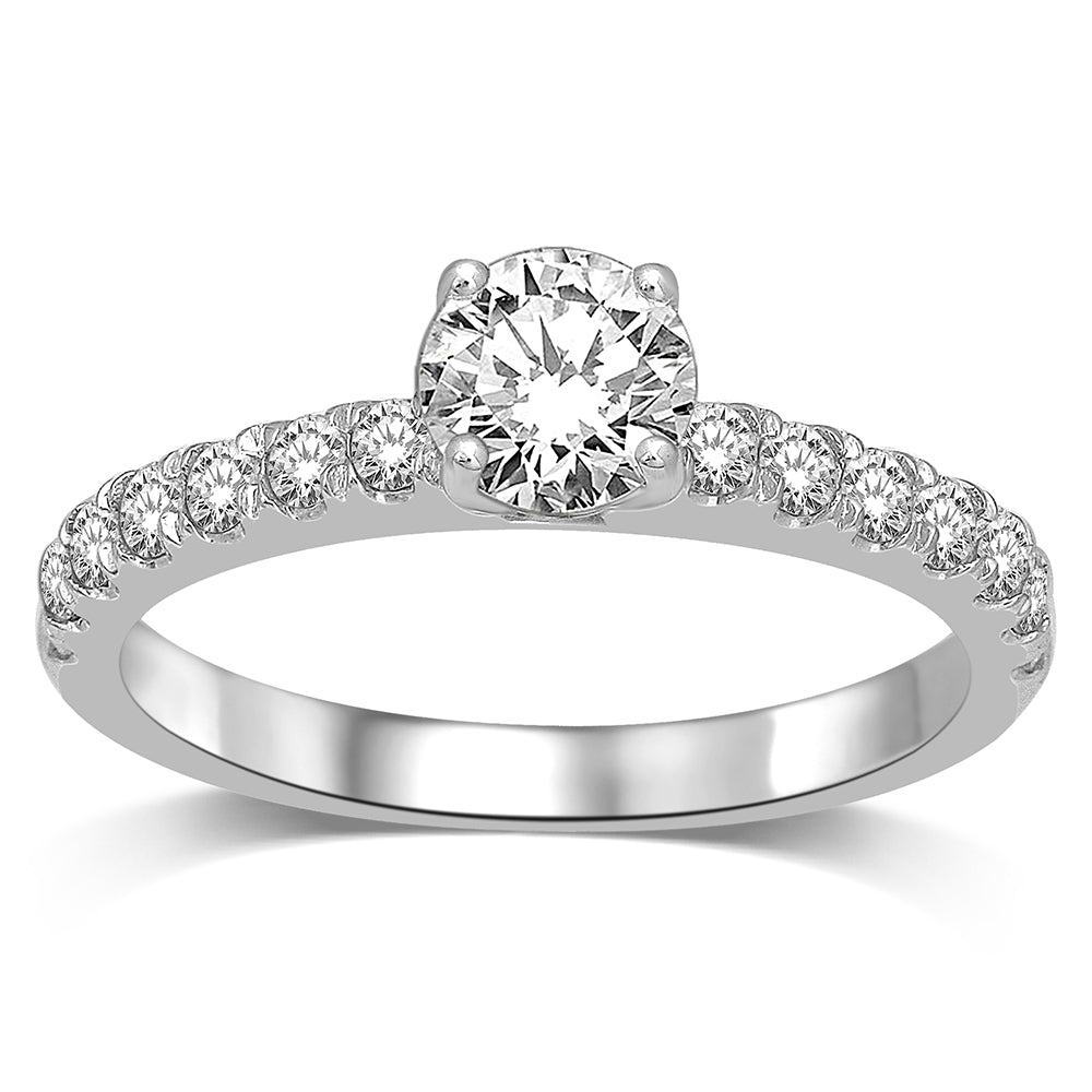 14K White Gold 3/4 Ct.Tw.Diamond Halo Engagement Ring