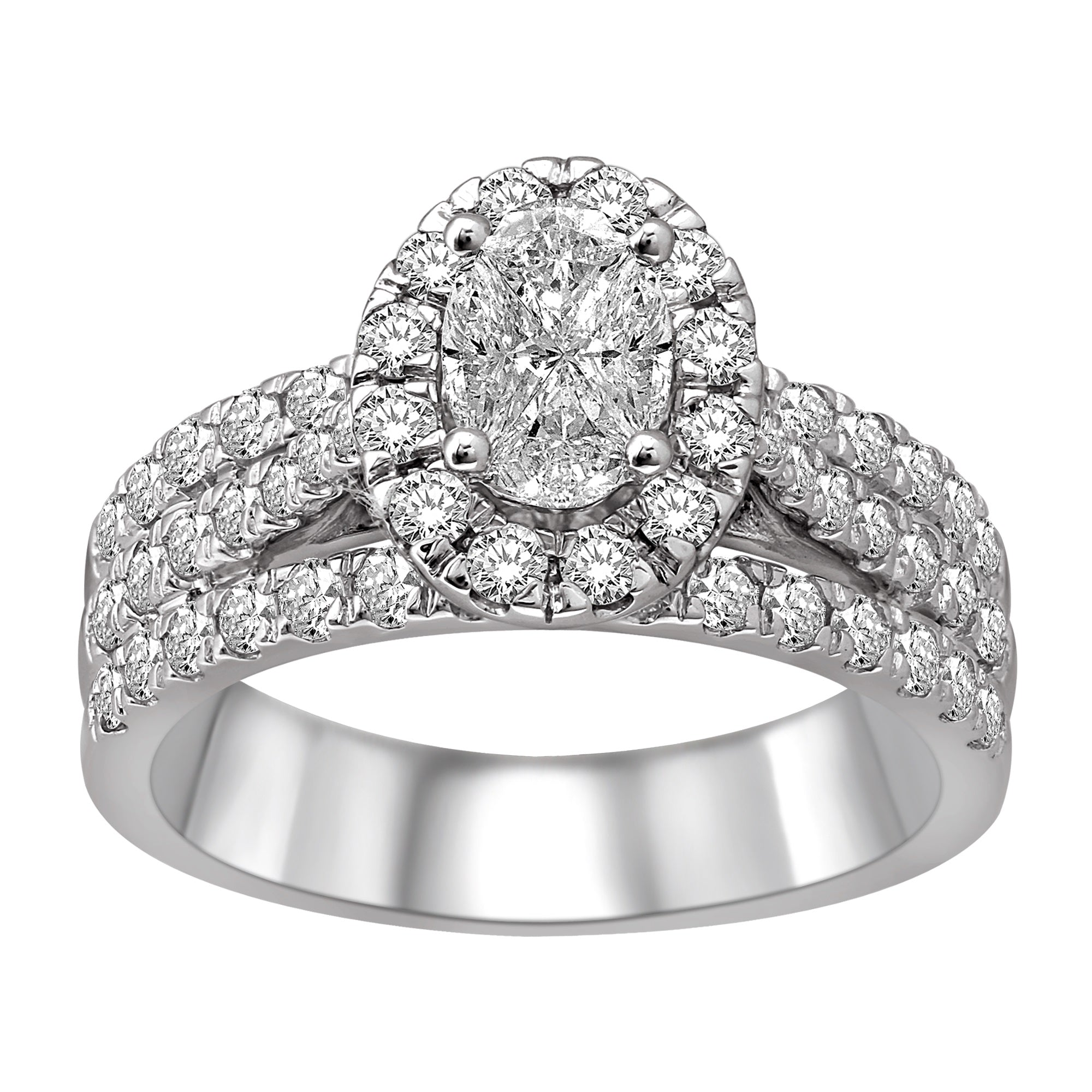 Lovecuts 14K White Gold 1 1/2 Ct.Tw.Diamond Engagement Ring