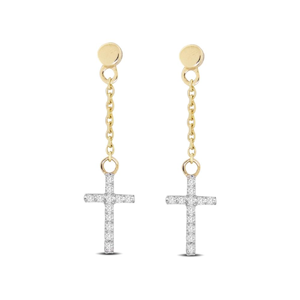 10K Yellow Gold 1/20 Ct.Tw.Diamond Cross Dangler Earrings