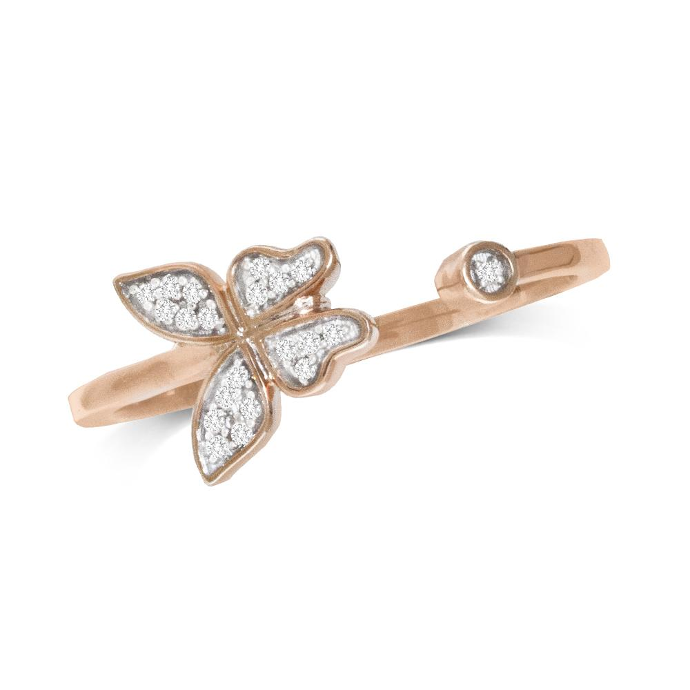 10K Rose Gold Diamond Accent Butterfly Ring