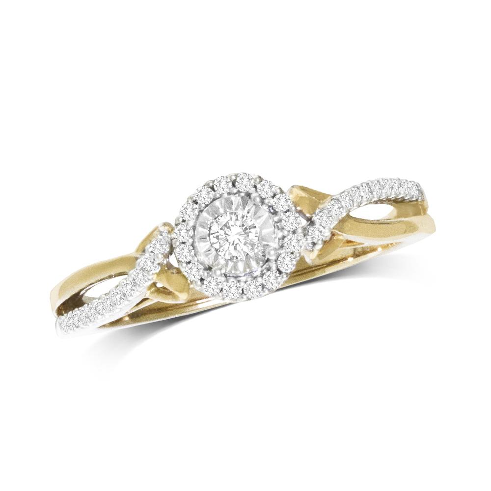 10K Yellow Gold 1/5 Ct.Tw.Diamond  Promise Ring