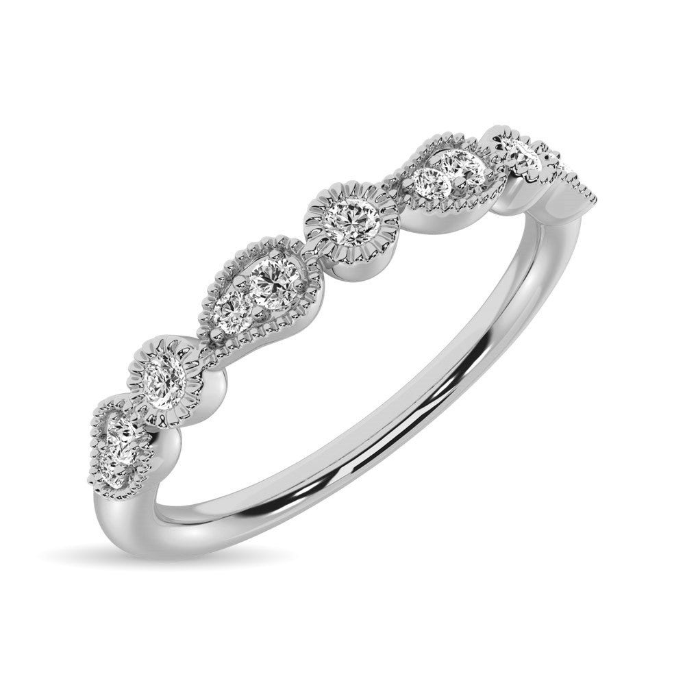 14K White Gold 1/10 Ctw Diamond Stackable Band