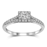 14K White Gold 1/4 Ct.Tw.Diamond Halo Engagement Ring