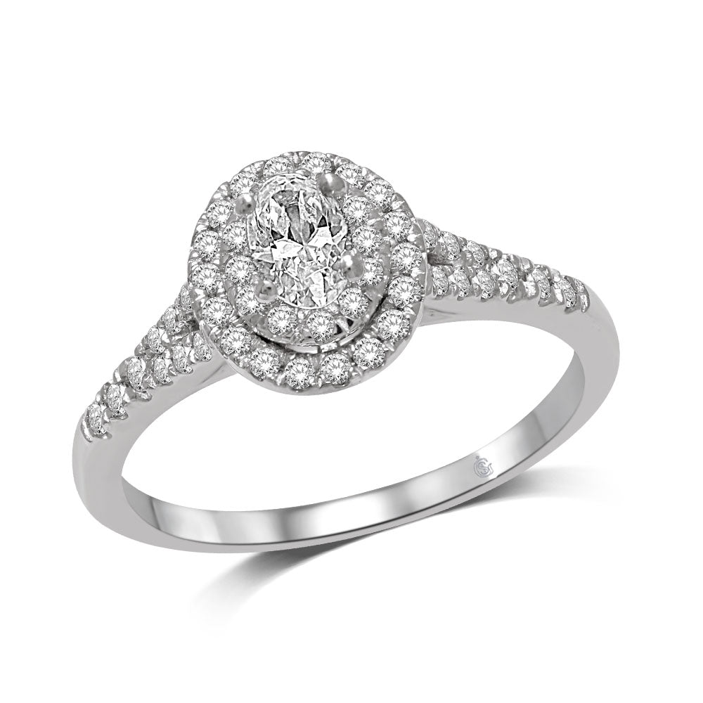 14K White Gold 1/2 Ct.Tw.Diamond Halo Engagement Ring
