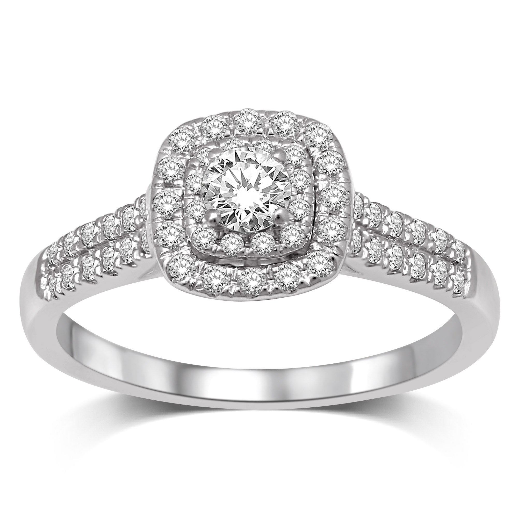 14K White Gold 1/3Ct.Tw.Diamond Halo Engagement Ring