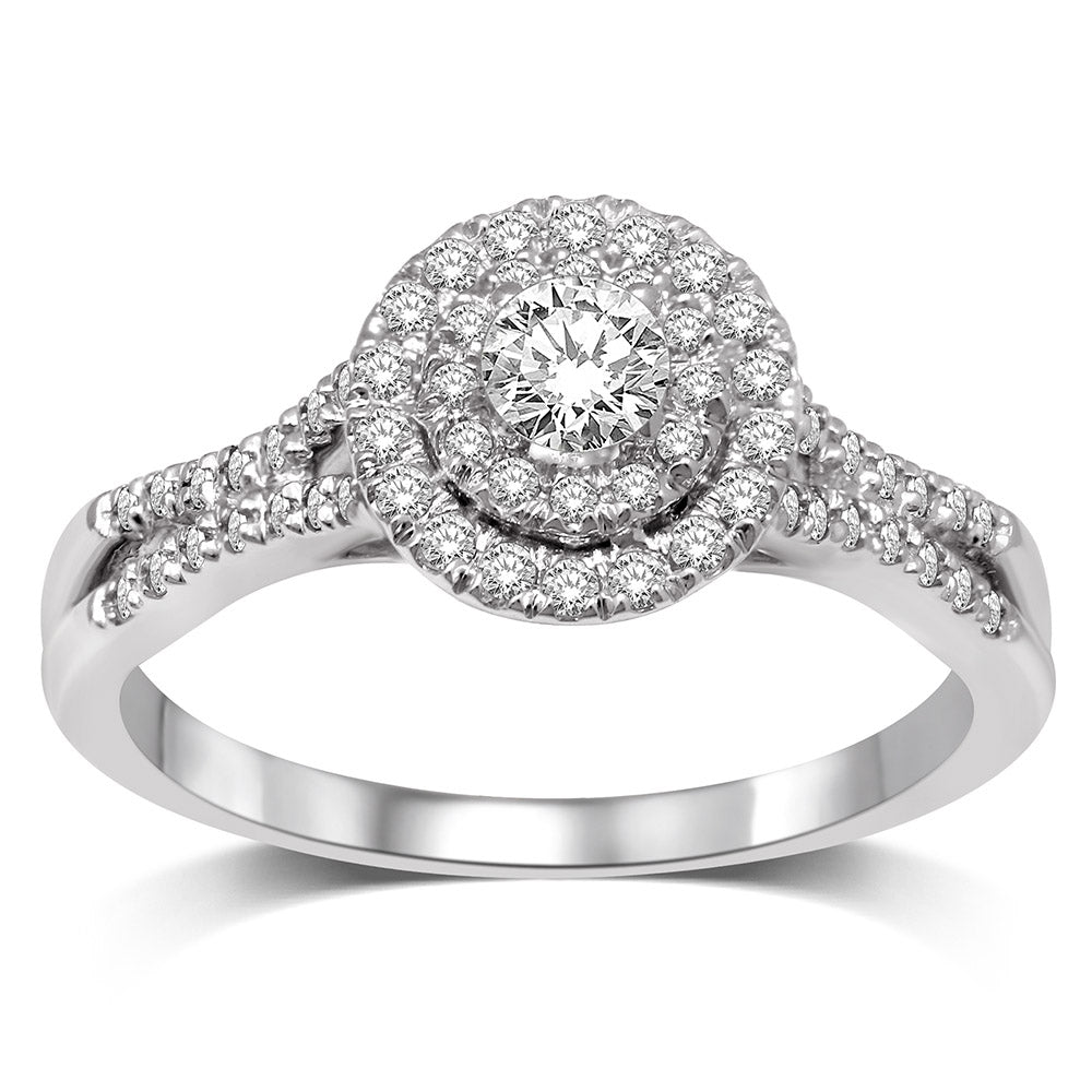 14K White Gold 1/3 Ct.Tw.Diamond Halo Engagement Ring
