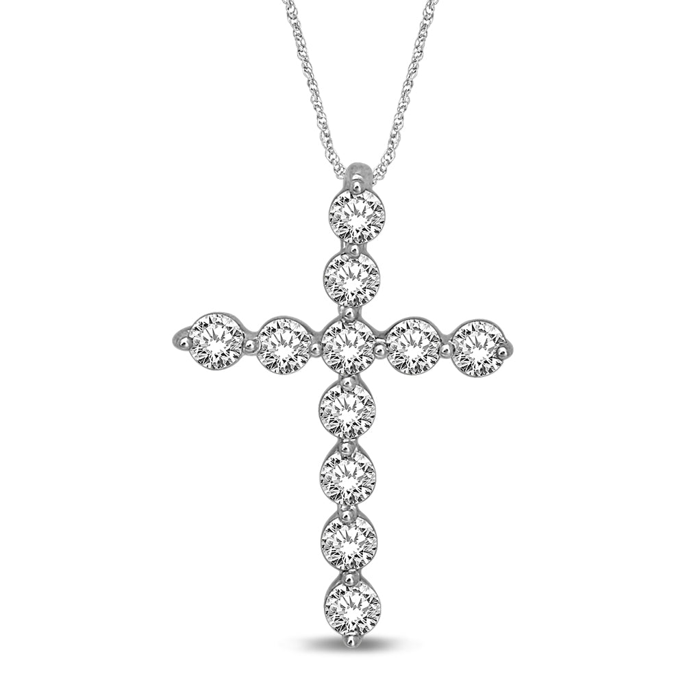 14K White Gold 1/5 Ct.Tw.Diamond Cross Pendant