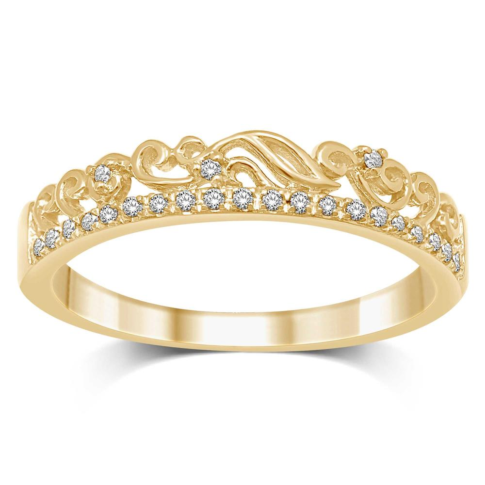 14K Yellow Gold 1/20 Ct.Tw. Diamond Stackable Band