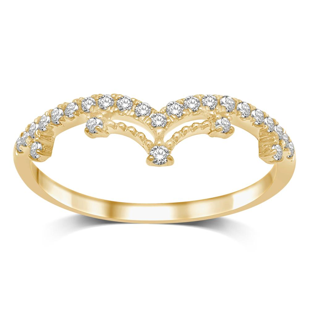 14K Yellow Gold 1/5 Ct.Tw.Diamond Stackable Band