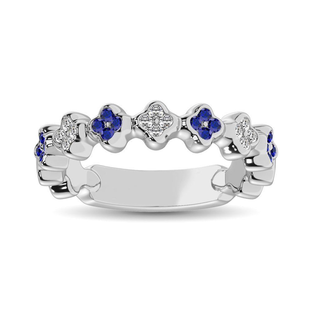14K White Gold 1/3 Ctw Alternate Blue Sapphire & Diamond Stackable Band