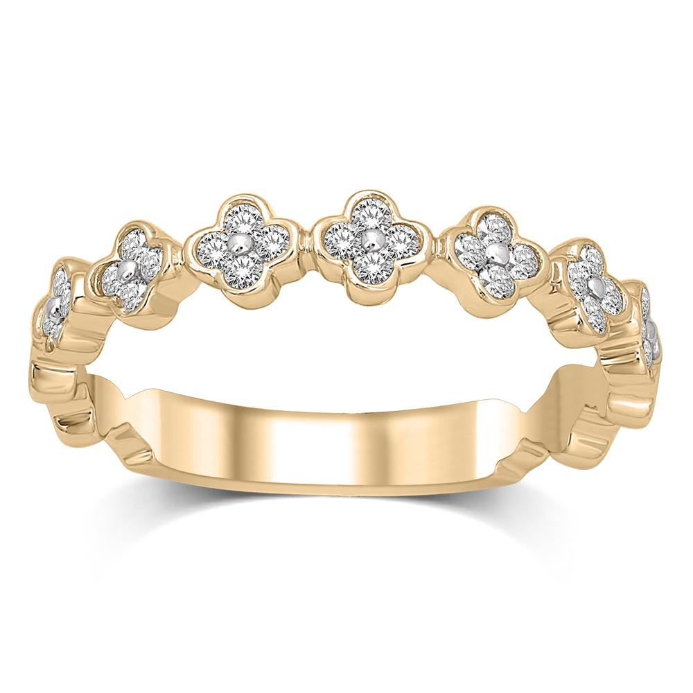 14K Yellow Gold 1/4 Ct.Tw.Diamond Stackable Band