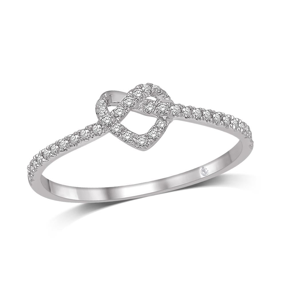 10K White Gold 1/6 Ctw Diamond Heart Ring