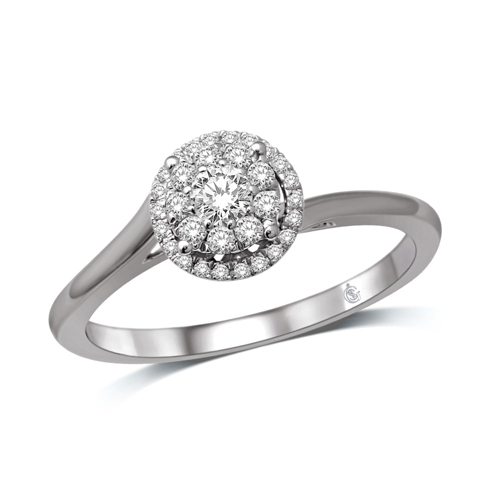 14K White Gold 1/4 Ct.Tw.Diamond Fashion Ring