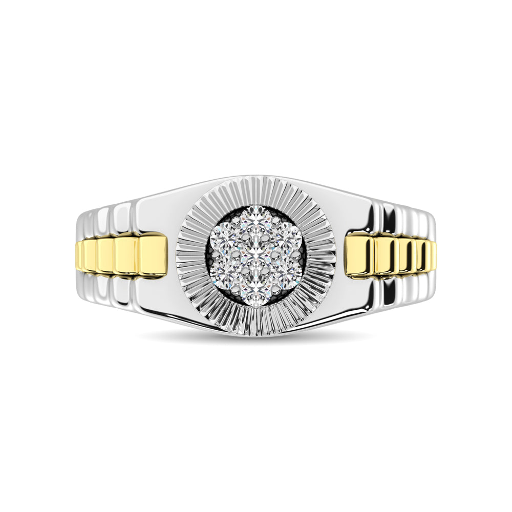 10K White Gold with Accent of 10K Yellow Gold 1/4 Ct.Tw. Diamond Ladies Fashion Ring