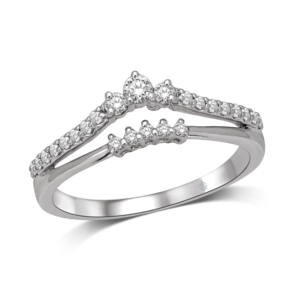 14K White Gold 1/4 Ct.Tw. Diamond Guard Ring