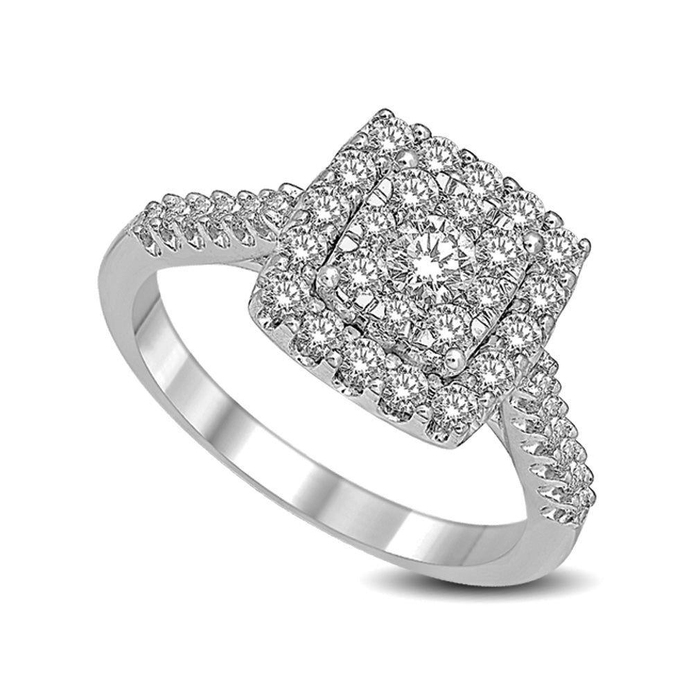 14K White Gold 1 Ctw Diamond Fashion Ring