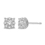 14K White Gold 1/2 Ctw Diamond Drop Earrings