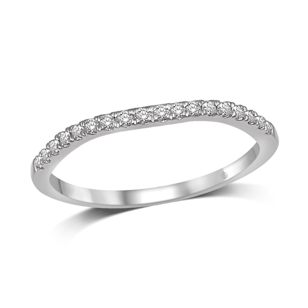 Lovecuts 14K White Gold 1/8 Ct.Tw.Diamond Wedding Band