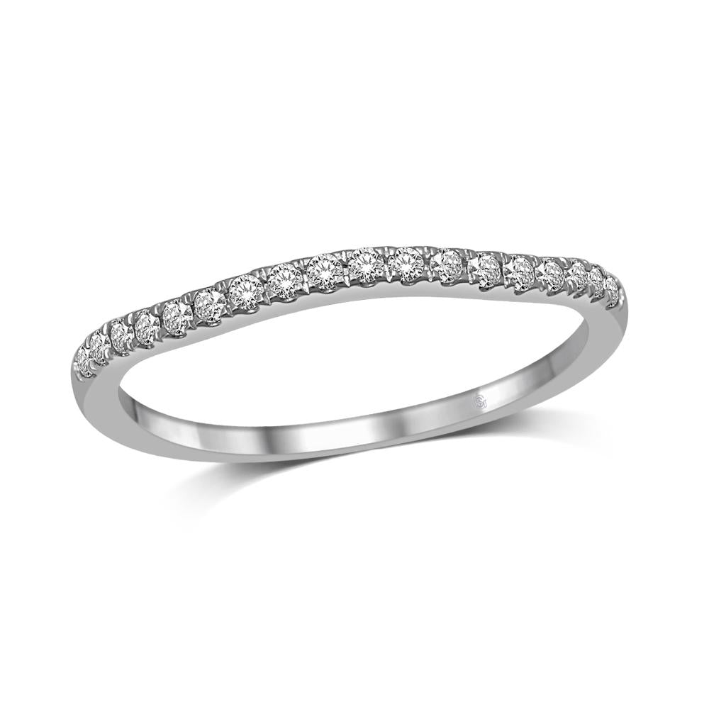 Lovecuts 14K White Gold 1/6 Ct.Tw.Diamond Wedding Band