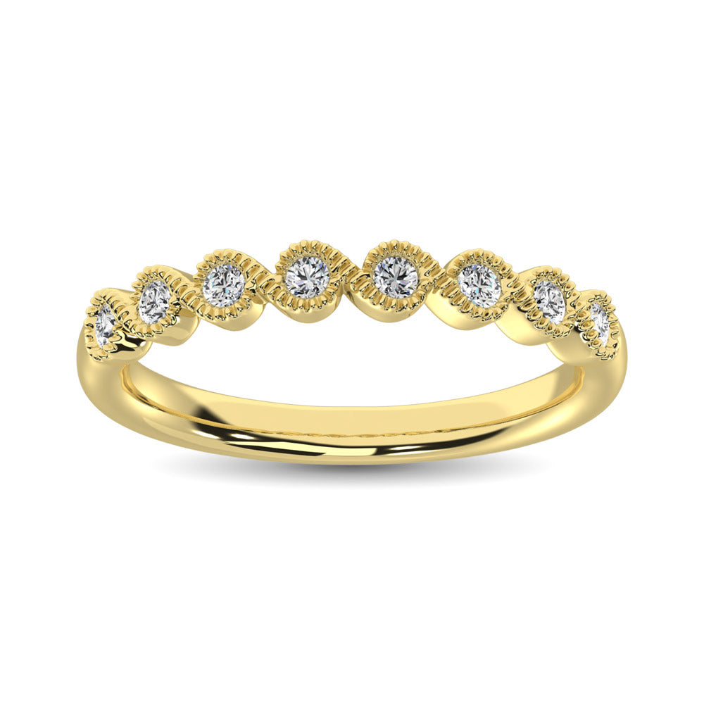 14K Yellow Gold 1/10 Ct.Tw. Diamond Stackable Band