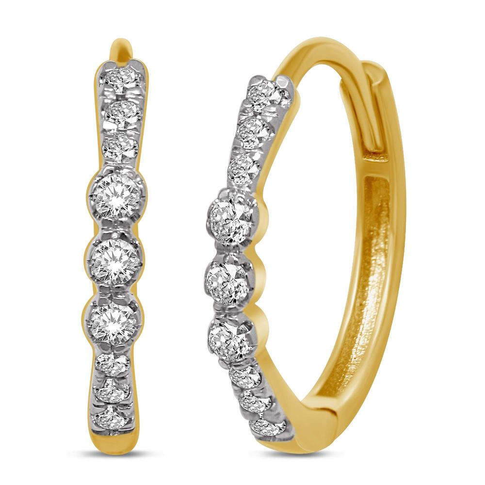 14K Yellow Gold 1/5 Ct.Tw. Diamond Stackable Earrings