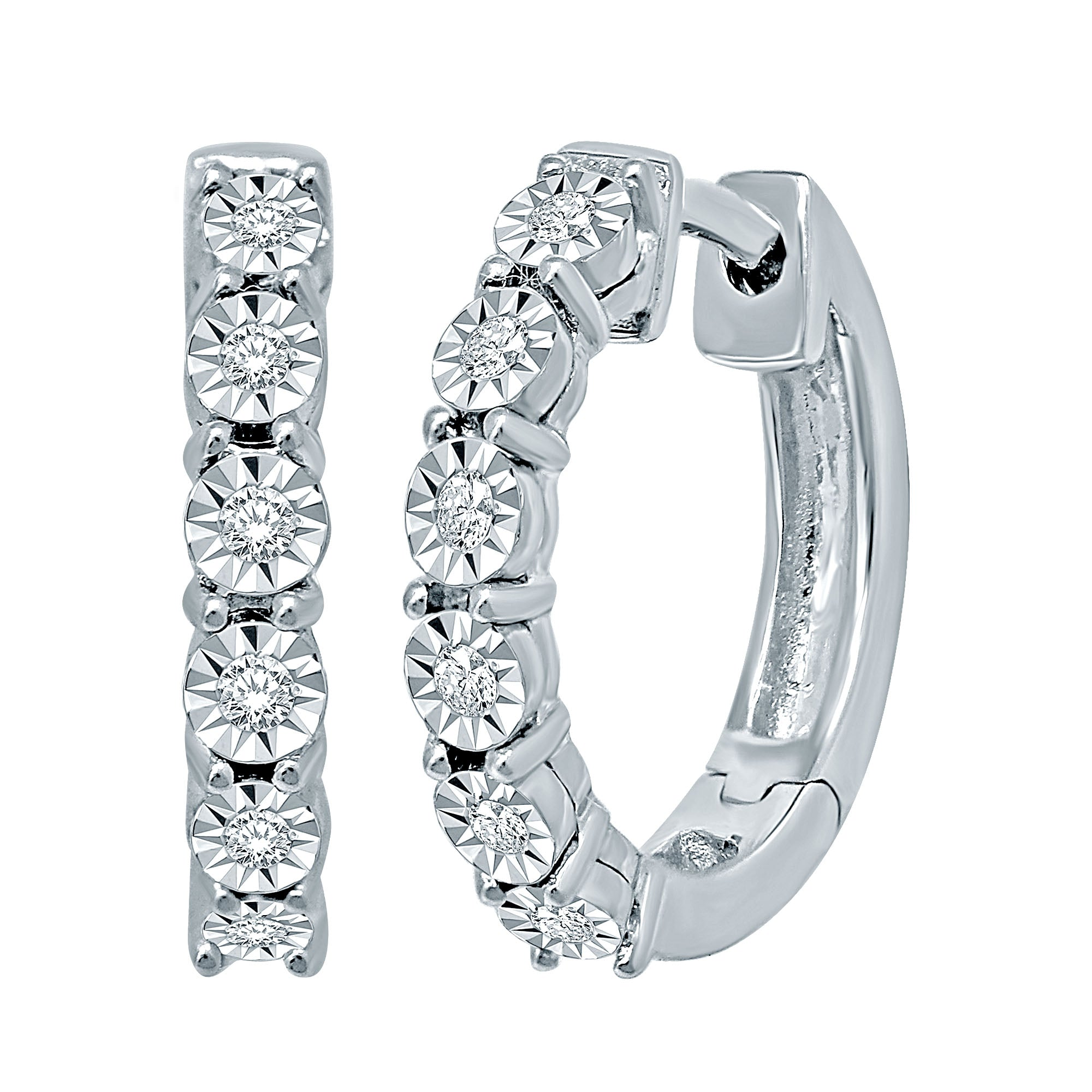 10K White Gold 1/5 Ct.Tw.Diamond Hoop Earrings