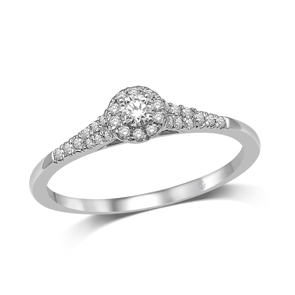 10K White Gold 1/4 Ctw Diamond Engagement Ring