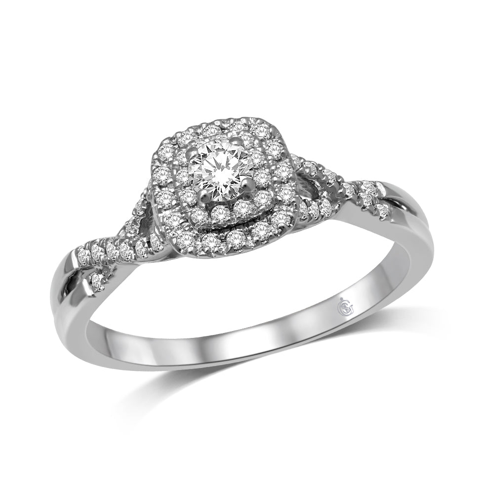 14K White Gold 1/3 Ctw Diamond Twisted Shank Engagement Ring