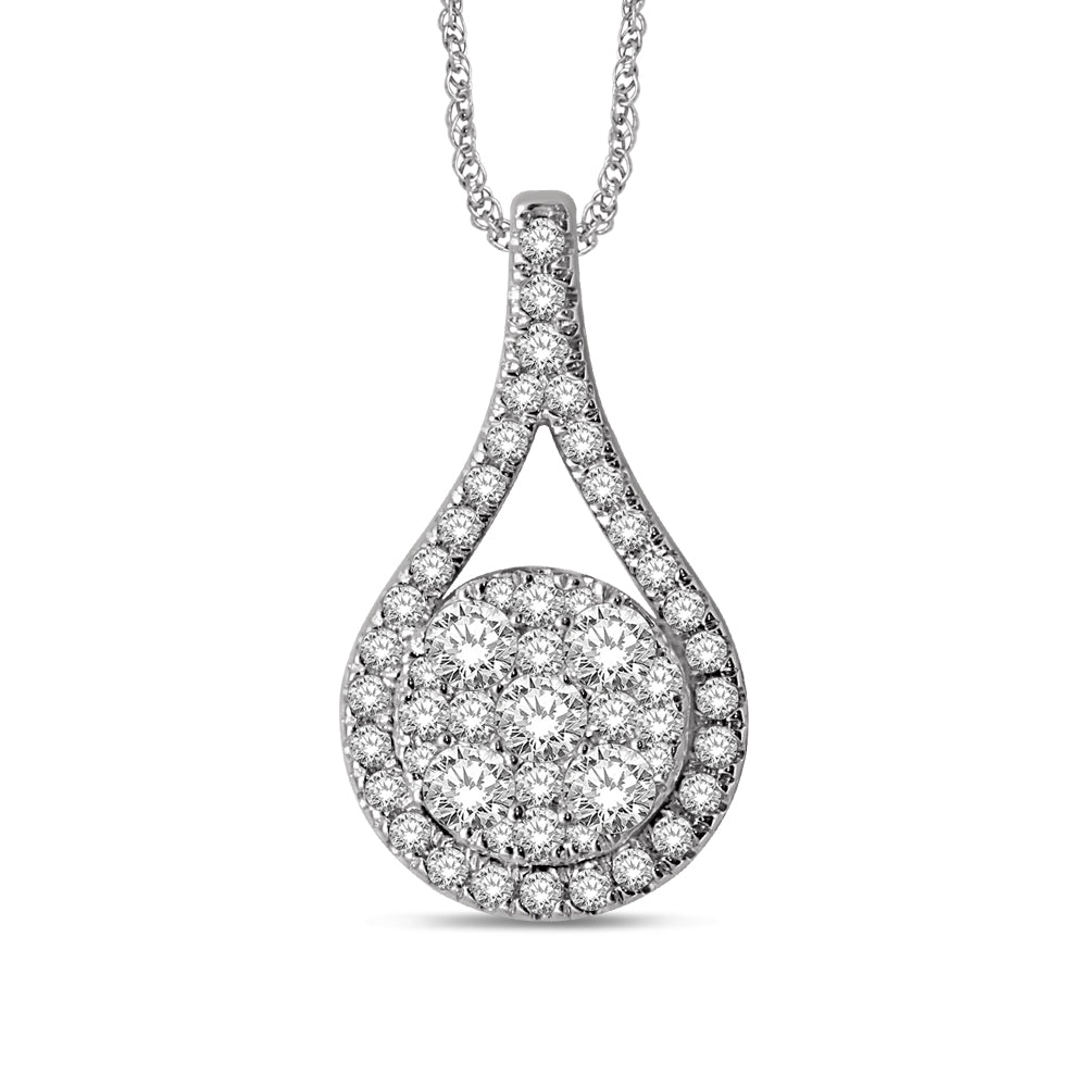 14K White Gold 3/4 Ctw Diamond Fashion Pendant