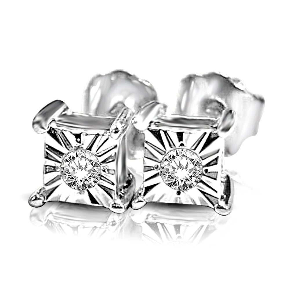 10K White Gold 1/20 Ct.Tw. Diamond Stud Earrings