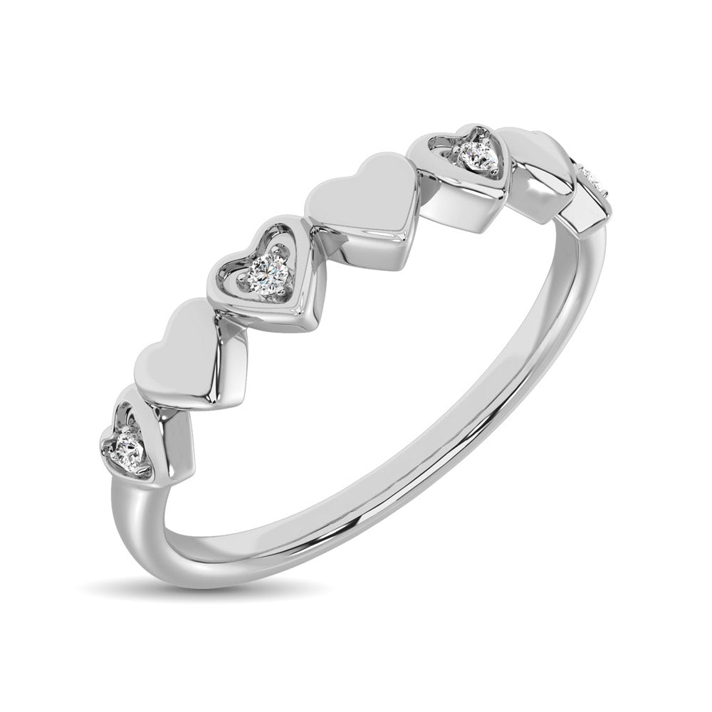 14K White Gold Diamond Accent Little Heart Stackable Band