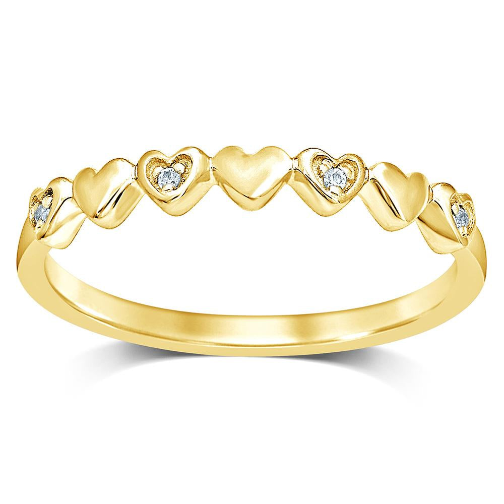 14K Yellow Gold Diamond Accent Little Heart Stackable Band