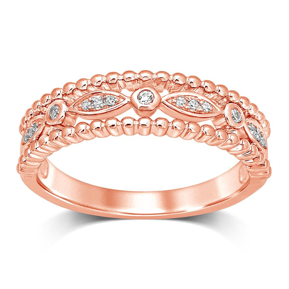 14K Rose Gold 1/20 Ct.Tw.Diamond Stackable Band