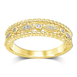14K Yellow Gold 1/20 Ct.Tw.Diamond Stackable Band