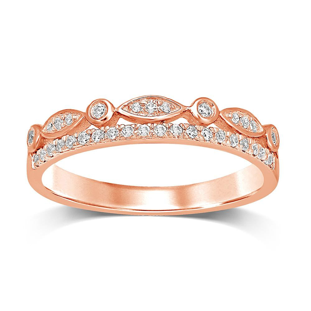 14K Rose Gold 1/6 Ct.Tw.Diamond Stackable Band