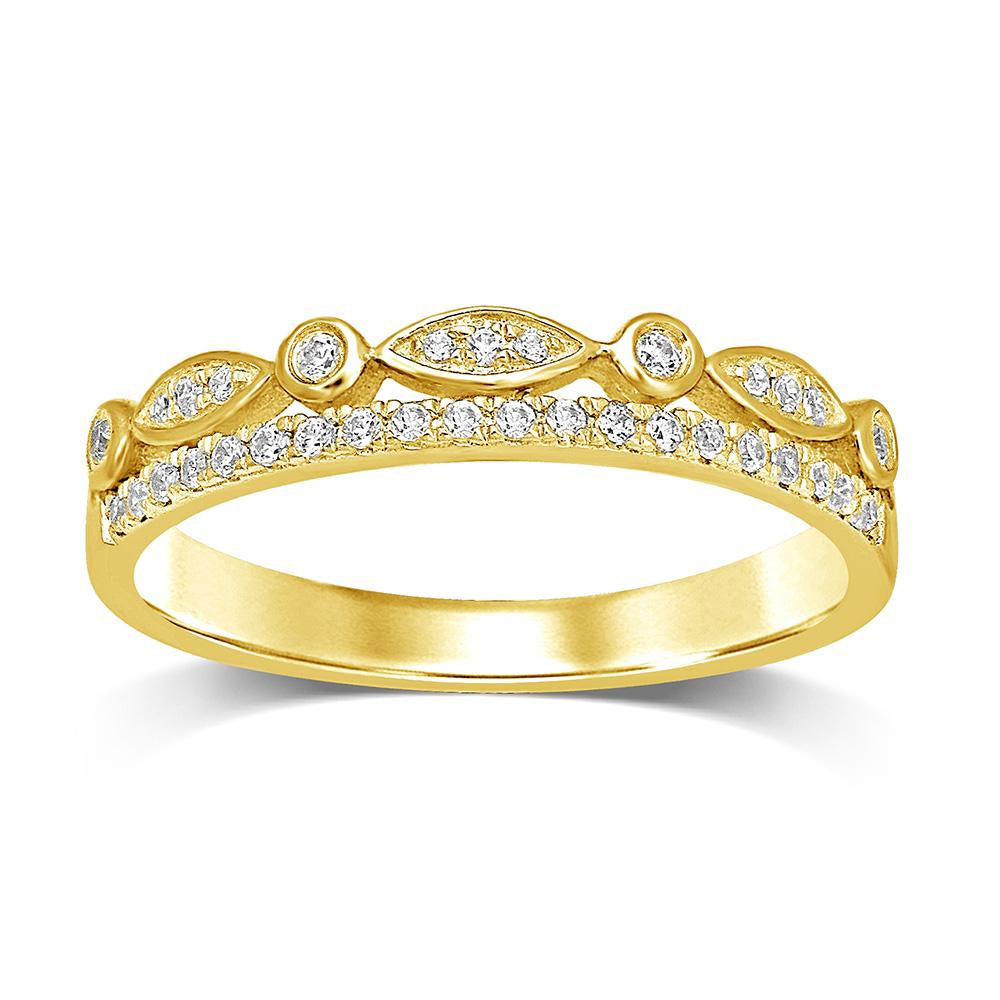 14K Yellow Gold 1/6 Ct.Tw.Diamond Stackable Band