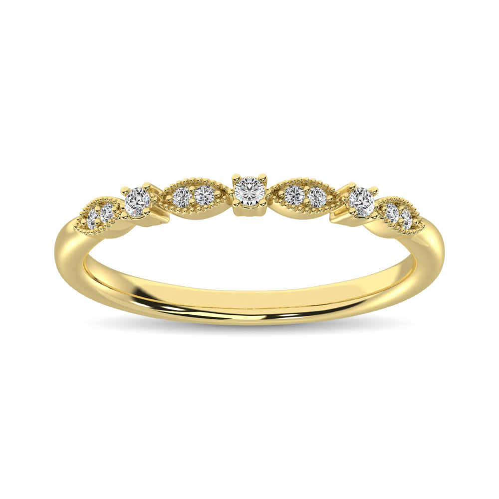 14K Yellow Gold 1/10 Ct.Tw.Diamond Stackable Band